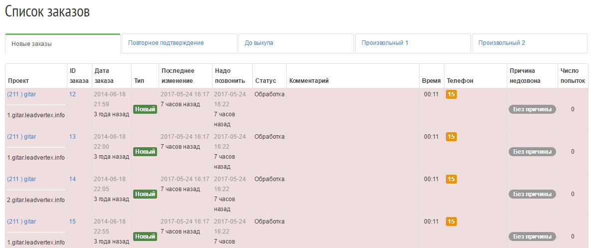 Список заказов в РП